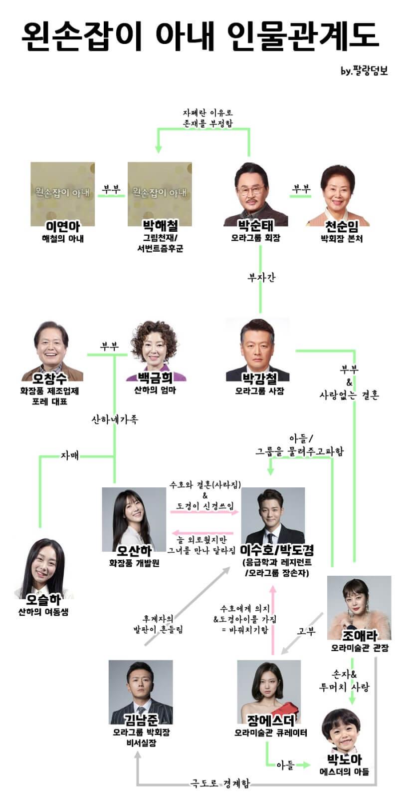 韓国ドラマ【左利きの妻】の人物相関図