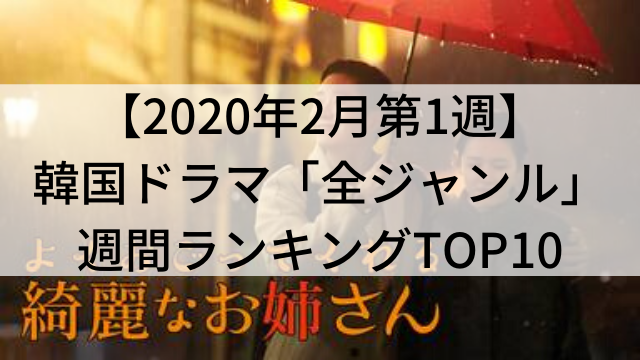 韓国ドラマ今見るべき人気おすすめ【2020年2月第1週】週間ランキングTOP10【動画配信サービス「U-NEXT(ユーネクスト)」調べ】